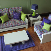 "18"" Doll/American Girl sized Living Room-Loveseat/Chair/Coffe­e & End Table/Lamp/Rug - Purple / Lime Green - MAY 2014 SHIPPING ONLY"