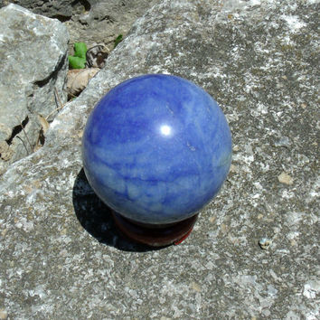 Blue Quartz Sphere Mineral Specimen Rock Stone Gem Free Shipping Massage Reiki Metaphysical Kynd Valley