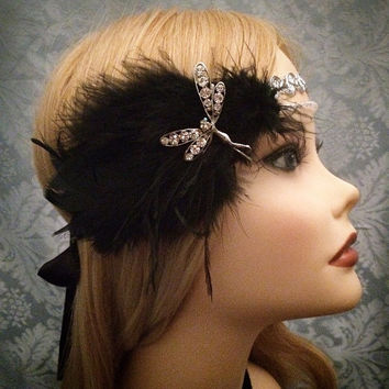 20s Style Gatsby Flapper Firefly Rhinestone Beaded Silver Art Deco Ostrich Feather Headband Wrap Head Piece 1920s 20s 1920's headpiece 1920