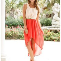 SCOOP NECK TWO TONE CHIFFON HI-LOW DRESS