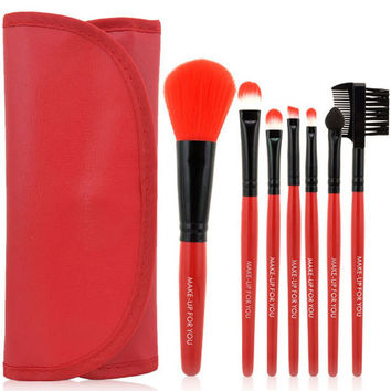 Red Travel Brush Kit,7 Piece 1 set