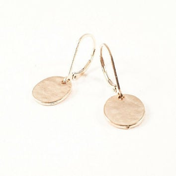 Disc Earrings, Disc Dangles, Gold, Minimalist Jewelry, Everyday Jewelry, Small Disc Dangles, Dainty, Simple Tiny Earrings