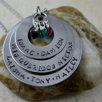 "Hand Stamped Personalized Customized Necklace.  ""Mis Queridos Nietos"" My Beloved Grandchildren"
