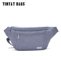 TINYAT Male Men Waist Bag Packs Casual Waterproof Nylon Fanny Pack Bag Shouder Light Coin Phone Belt Bag Gray Black T206