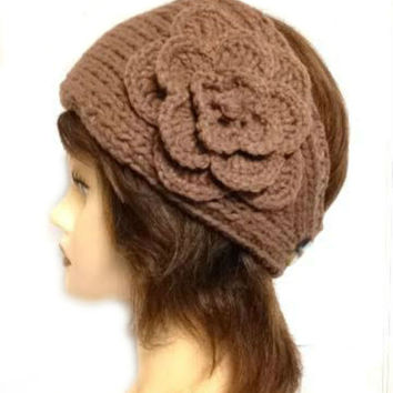 Women's Brown Large Crochet Flower Adjustable 2 Button Stretch Headband Ear Warmer Crochet Headband