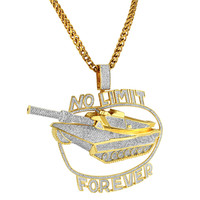 No Limit Forever Military Tank Pendant 14k Gold Finish Iced Out Free Chain CZ