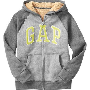 Gap Boys Factory Sherpa Colorblock Zip Hoodie