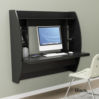 Broadway Black Floating Desk with Storage | Overstock.com