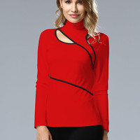 Red High Neck Cut Out Detail Contrast Long Sleeve T-shirt
