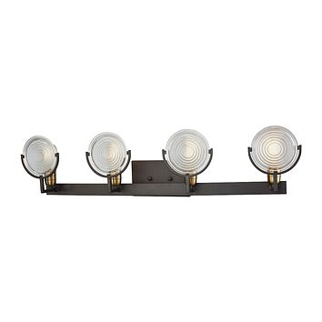 Ocular 4-Light Vanity Lamp in Oil Rubbed Bronze and Satin Brass with Clear Railroad Glass