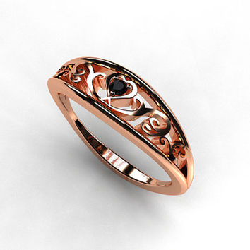 Rose gold heart filigree ring with black diamond, rose gold engagement ring, filigree ring, black diamond wedding, unique, vintage style