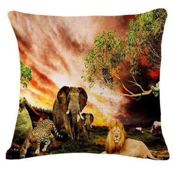 Fashion Style Color Elephant Printed Sofa Throw Pillow Cotton Linen Cartoon Cushion  Home Decorative Square Cojines