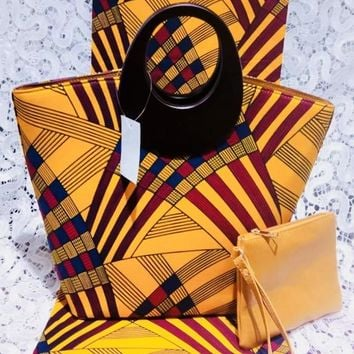 Miami Ankara African Fabric Print and Bag with Wallet Set