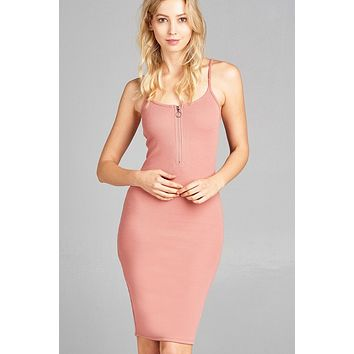 Front Zipper Bodycon Ribbed Dress - Pink