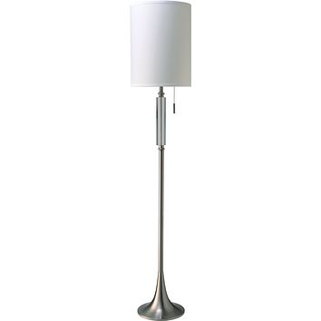 Cody Floor Lamp, Brushed Silver & Crystal