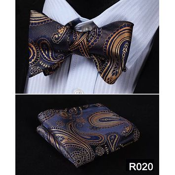 Men's Coordinated Bow Tie Set - Brown Blue Paisley