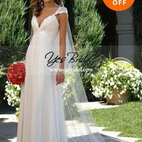 Sheath/Column V-neck Brush Train Chiffon Lace Wedding Dress