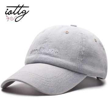 Trendy Winter Jacket IOTTG Men Denim Snapback Casquette Women Baseball Cap Dad Brand Hats Hip hop Gorra Fashion Letter Embroidered Vintage Hat Caps AT_92_12