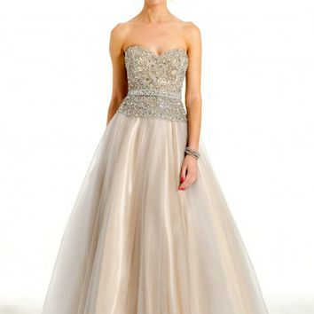 Strapless Two-Tone Beaded Bodice Dress