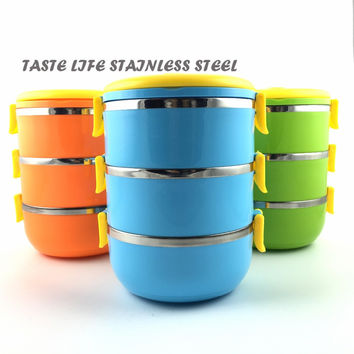 HUFA Two/Three layer 1.4L/2.1L round Thermal Lunch Box/Thermos For Food Stainless Steel Storage food Container/ Dinnerware sets