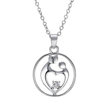 Mother and Child Pendant Necklace - Silver