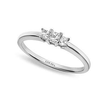 1/4 ct. Princess Cut Diamond Platinum Three-stone Engagement Ring