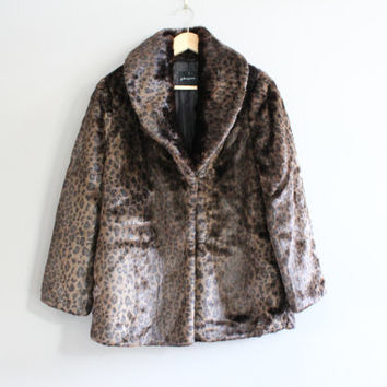 Vintage Leopord Pattern Coat Faux Fur Winter Coat Animal Pattern Cocktail Coat Size M #O131A