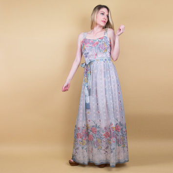 70's floral sundress / empire waist pleated maxi dress / sweeping bohemian maxi dress / gypsy boho hippie edwardian peasant dress