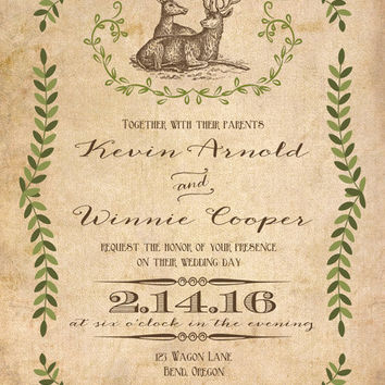 Printable Rustic Deer wedding invitation. Mountain. Vintage wedding invitation. Western invitation. Country. Buck and doe.