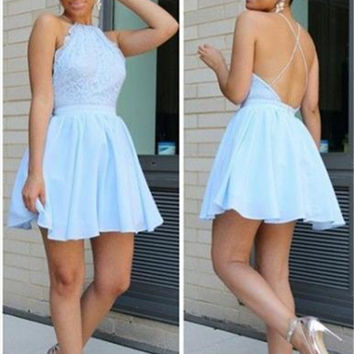 Blue A-line Homecoming Dresses,Strap Backless Lace Cocktail Homecoming Dress