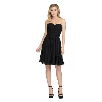 Starbox USA S6074 Sweetheart Pleated Bust Drape Skirt Black Above-Knee Dress Strapless