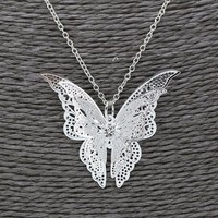 Women Lovely Silver Butterfly Chain Pendant Necklace