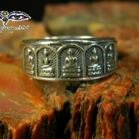 Temple Inspired Five Buddha Ring - Handcrafted Best Quality of Fine Silver Woman's Ring