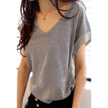 Fashion Glitter Chiffon Splicing Short Sleeve V-Neck Loose Fitting T-Shirt Silver One Size (Fit Size XS to L) (Size: M, Color: Silver) = 1841592132