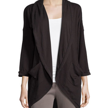 Open-Front Draped Cardigan, Black, Size: