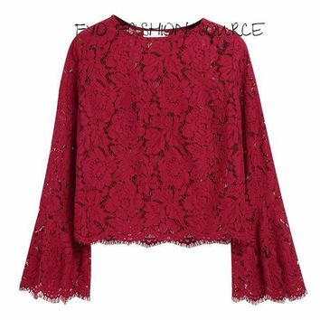 Elegant Cropped Lace Top with Glorious Long  Flared Sleeves and a Jewel Neckline (2) Colors