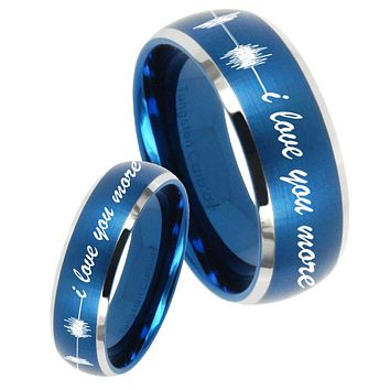 His Her Satin Blue Dome Sound Wave i love you more more Two Tone Tungsten Wedding Rings Set