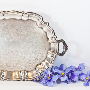 17'' Large Footed Serving Tray: Silver Plated Victorian Style Oval Tray Engraved Decorations, Metal Tea Serving Tray, Tea Party, Home Decor