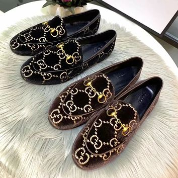 Gucci Fashionable Women Casual Comfortable Leather Shoes