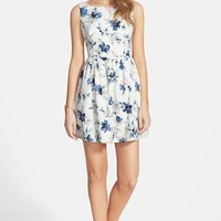 Junior Women's En Creme Floral Print Fit & Flare Dress