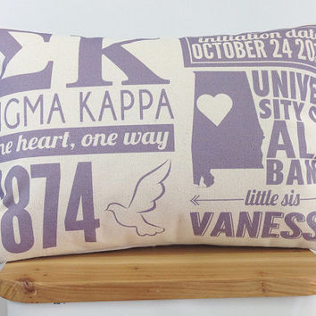 Personalized Sigma Kappa Infographic Pillow With Insert - Sorority Gift - Bid Day Gift
