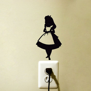 Alice In Wonderland velvet Sticker - Fabric Alice Wall Decal - Alice In Wonderland Laptop Sticker - Movie Wall Decor - iPhone Stickers