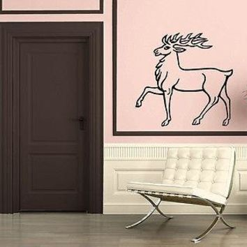 Wall Stickers Vinyl Decal Mural Design Animal Elk Deer Hunting Forest Unique Gift z306