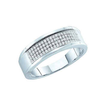 10kt White Gold Mens Round Diamond Band Wedding Anniversary Ring 1/4 Cttw 49974