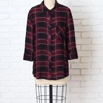 Burgundy and Black Plaid Button-Up