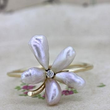 Dainty Pearl Flower Ring | Antique Stick Pin Conversion Ring | Delicate Yellow Gold St
