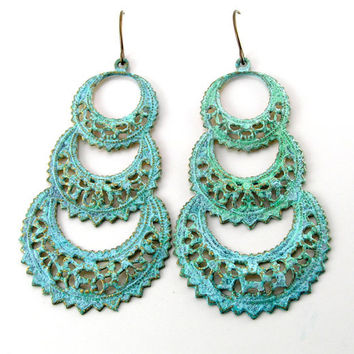 Verdigris Chandelier Earrings, Metal Earrings, Green Earrings, Antiqued Earrings, Large, Lace Look, Metal Jewelry, Pastel Jewelry