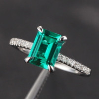Emerald Shape Emerald Engagement Ring Pave Diamond Wedding 14K White Gold 6x8mm CLAW PRONGS