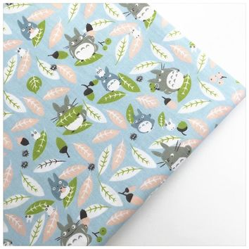 Syunss,New Blue Back Totoro Print Cotton Twill Fabric Sewing Baby Toy Bedding Quilt Cloth Craft Tecido DIY Tissu Patchwork Telas