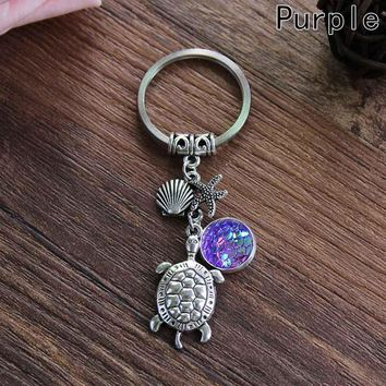 Hot sales Fashion Mermaid Keychain Multicolor Fish Scale Turtle Pendant keychain